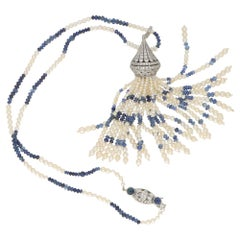 Art Deco Pearl Sapphire Long Tassel Drop Necklace