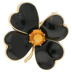 1950s Onyx Citrine Gold Clover Brooch