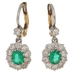 Emerald Diamond Platinum Cluster Drop Earrings
