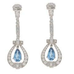 Aquamarine Diamond Platinum Long Drop Earrings