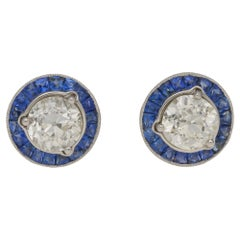 Platinum Diamond Sapphire Cluster Stud Earrings