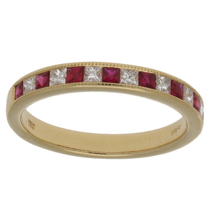 18 Karat Gold Ruby Diamond Half Eternity Ring