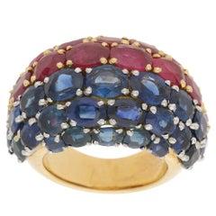 18 Karat Sapphire Ruby Bombe Ring