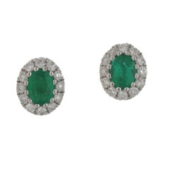 18 Karat Gold Oval Emerald Diamond Cluster Earrings