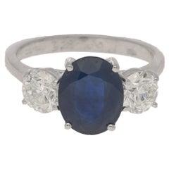 Oval 2.90 Carat Sapphire and Diamond Three-Stone Engagement Ring, Modern