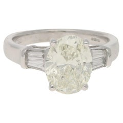 3.30 Carat Oval and Baguette Diamond Engagement Ring, Modern