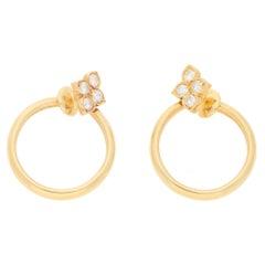 18 Karat Gold Cartier Clip on Diamond Hoop Earrings