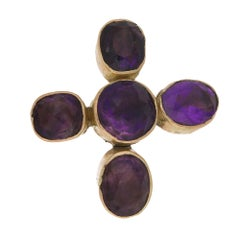 Antique Gold Amethyst Cross Brooch