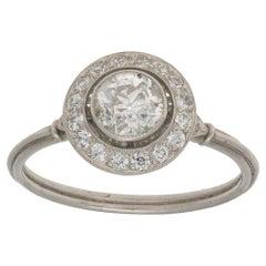 Art Deco Diamond Halo Engagement Ring