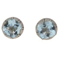 Aquamarine Stud Earrings 2.50 Carat in Silver-on-Gold Victorian Mounts
