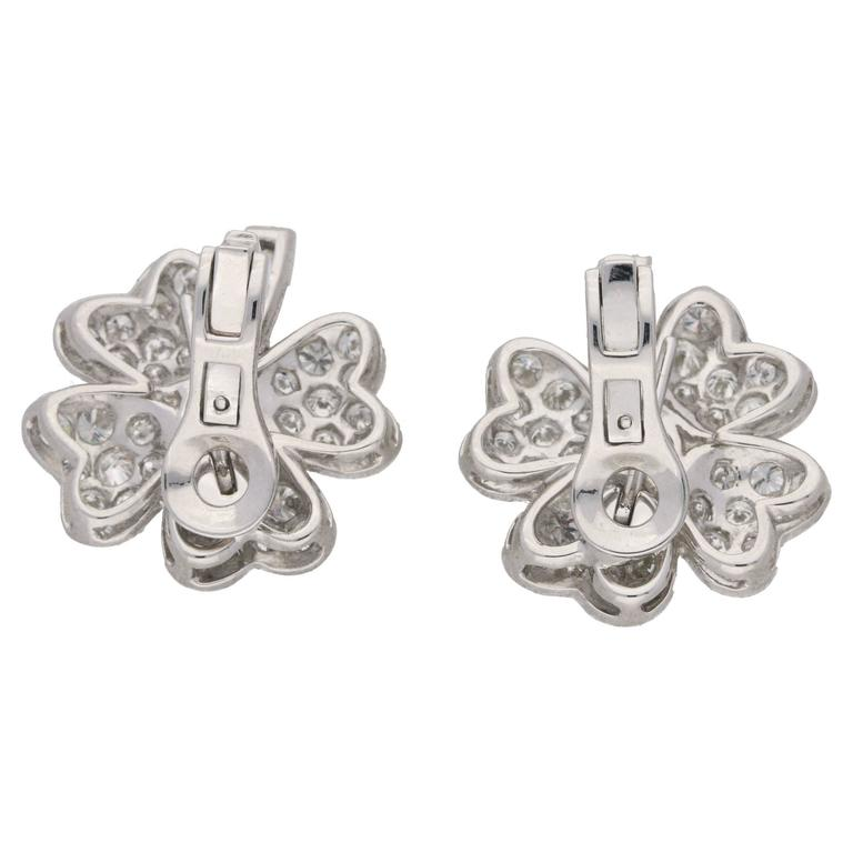 Diamond Platinum Four Leaf Clover Earrings  2