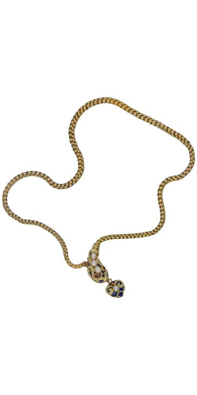1890s Enamel Ruby Seed Pearl Gold Snake Necklace 3