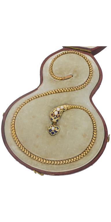Victorian Enamel Ruby Seed Pearl Gold Snake Necklace In Excellent Condition For Sale In London, GB