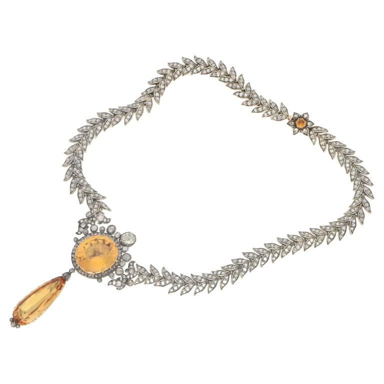 Victorian 1860s Topaz Diamond Necklace  In Excellent Condition For Sale In London, GB