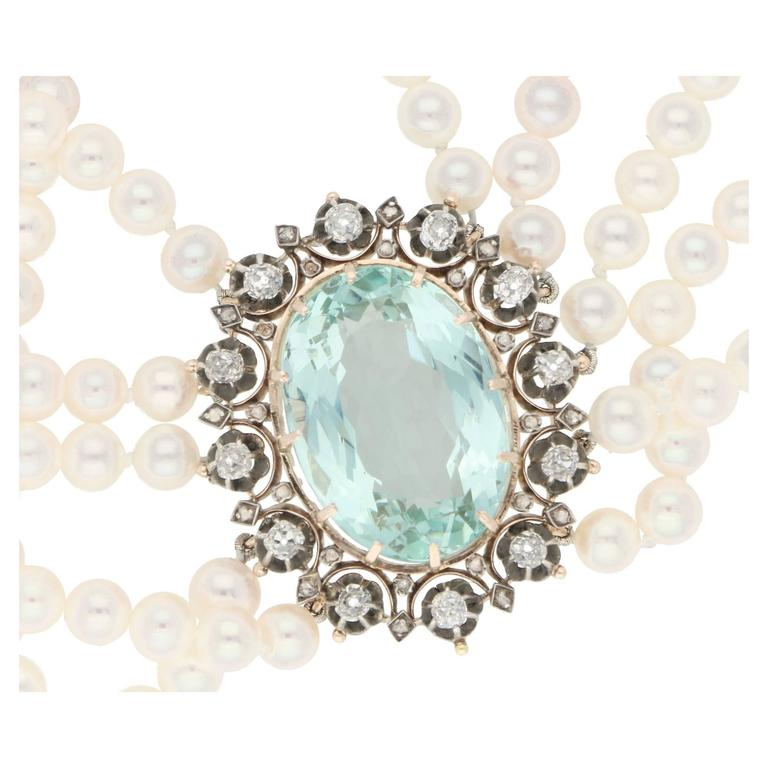 High Victorian Victorian 1860s Aquamarine, Diamond and Pearl Necklace