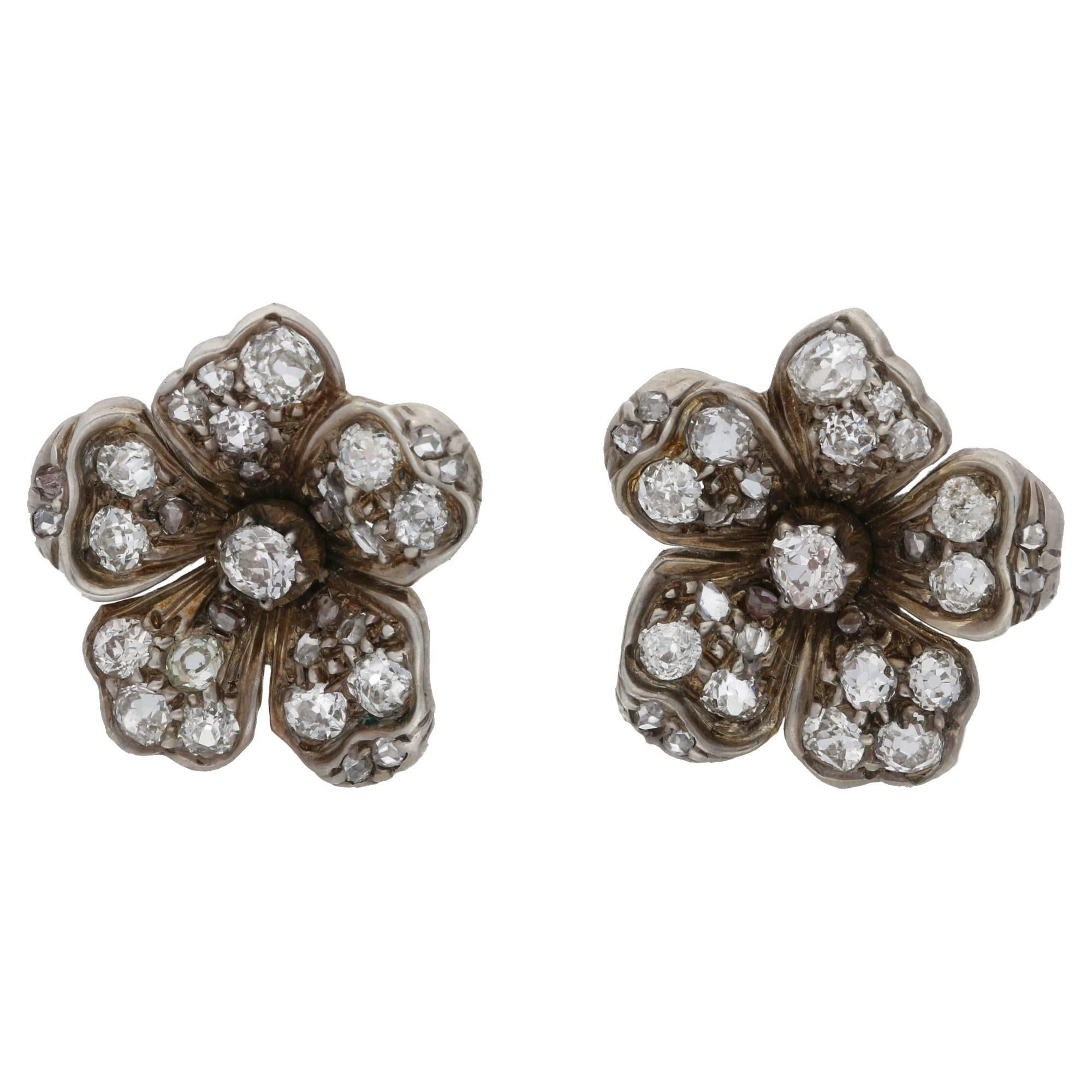 Victorian Diamond Floral Cluster Stud Earrings Set in Silver on Gold