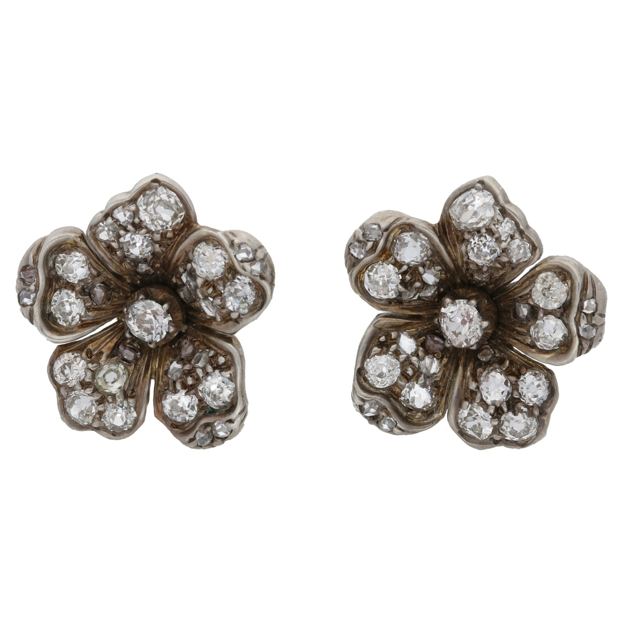 earrings vintage stud pin brilliant white diamond antique cts round gold