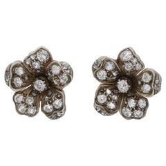1880s Diamond Set Floral Stud Earrings in Gold