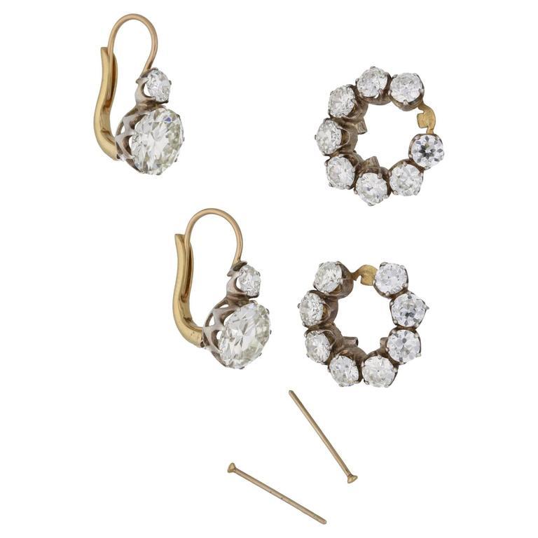 Women's or Men's Old Cut Diamond Detachable Cluster Drop Earrings For Sale