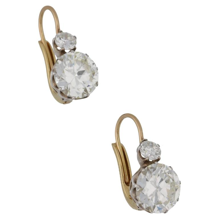 Old Cut Diamond Detachable Cluster Drop Earrings For Sale 1