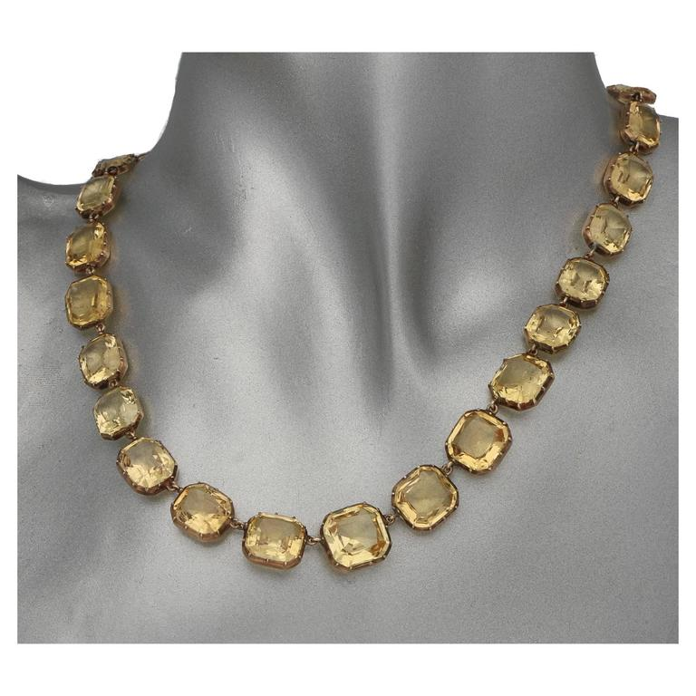 High Victorian Victorian Imperial Topaz Yellow Gold Riviere Necklace For Sale