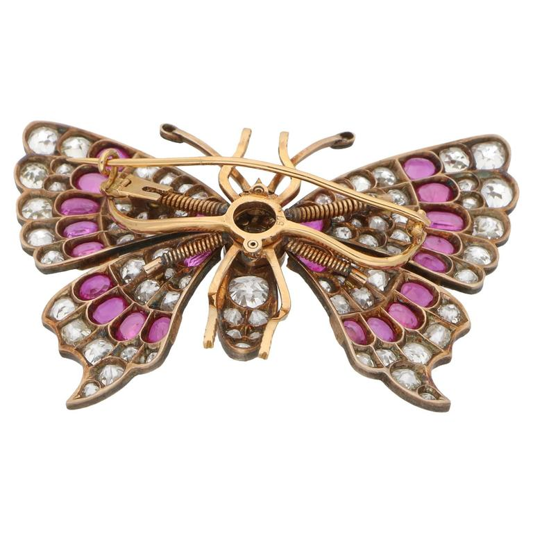 High Victorian Antique Ruby Diamond Butterfly Brooch For Sale
