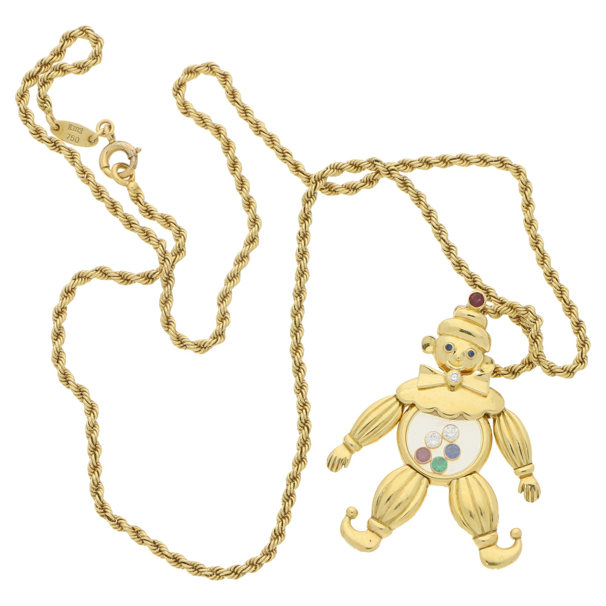 1990s gold chopard gem set happy diamonds clown necklace at 1stdibs aloadofball Gallery