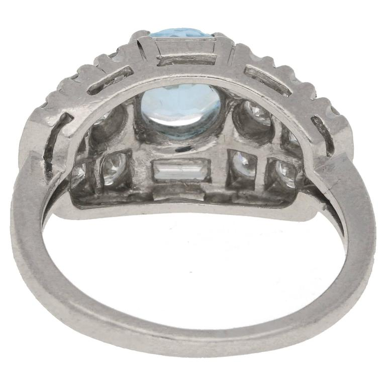 Art Deco Aquamarine and Diamond Bombe Cocktail Ring in Platinum In Excellent Condition For Sale In London, GB