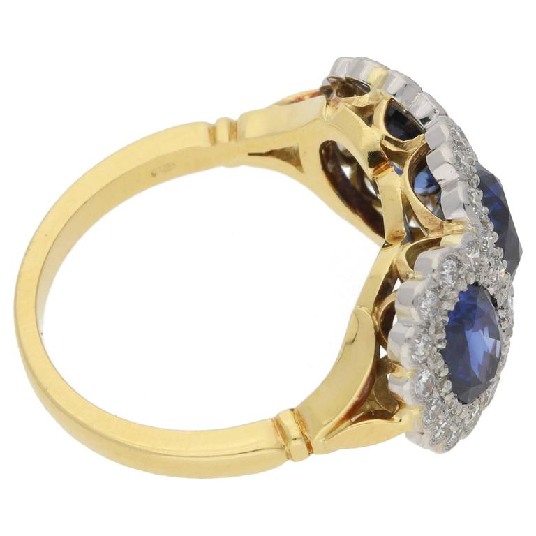 Sapphire Diamond Triple Cluster Engagement Ring For Sale at 1stdibs
