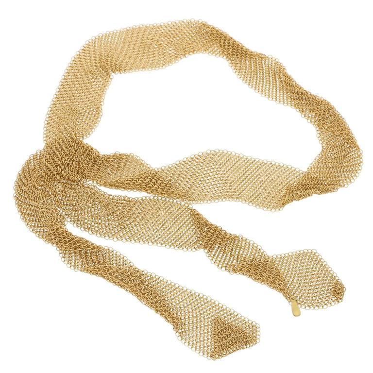Tiffany & Co. Elsa Peretti Gold Mesh Necklace Scarf 2