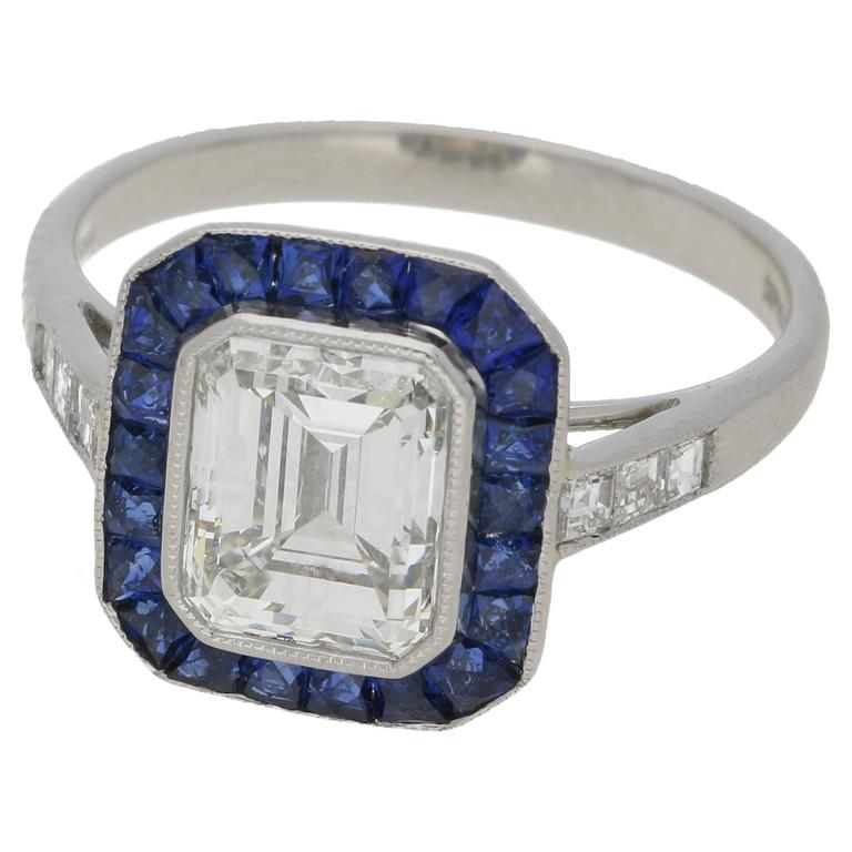 Emerald Cut Diamond 2 03 Carat Art Deco Style Engagement Ring For Sale at 1st