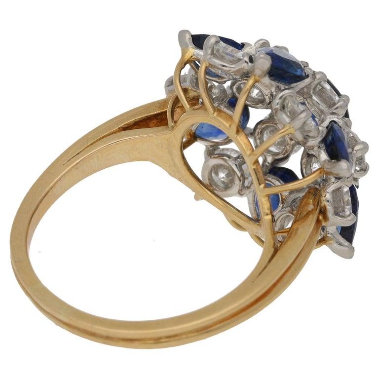 Oscar Heyman Diamond Sapphire Cluster Cocktail Ring 2