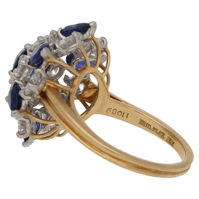 Oscar Heyman Diamond Sapphire Cluster Cocktail Ring 3