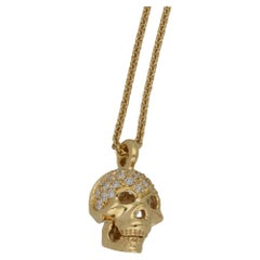 Diamond Set Skull Pendant in 18 Carat Gold