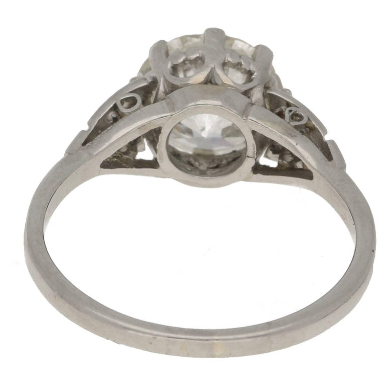 2.47 Carat Edwardian Diamond Single Stone Engagement Ring In Excellent Condition In London, GB