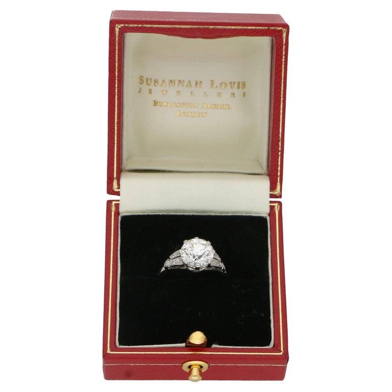 Women's or Men's 2.47 Carat Edwardian Diamond Single Stone Engagement Ring