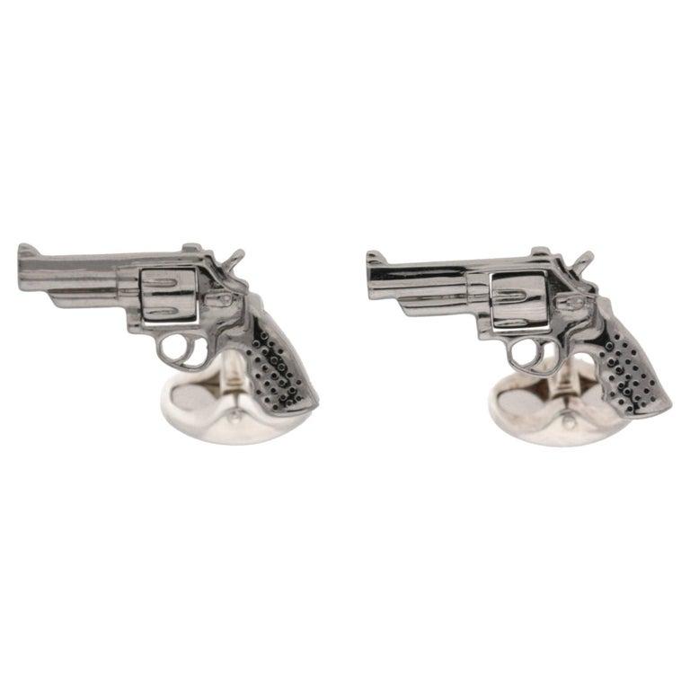 Silver Revolver Gun Cufflinks