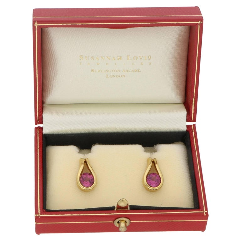 Women's or Men's Diana Vincent Tourmaline Gold Earrings For Sale