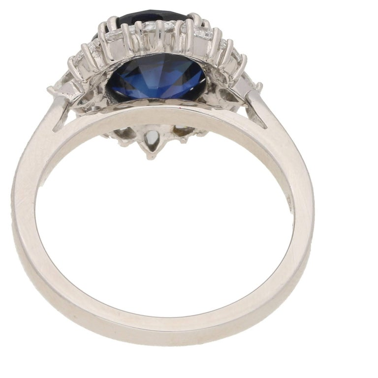 Sapphire Diamond Cluster Engagement Ring In New Condition For Sale In London, GB