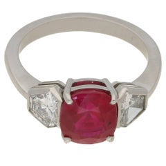 3.11 Carat Ruby Diamond Three-Stone Engagement Ring