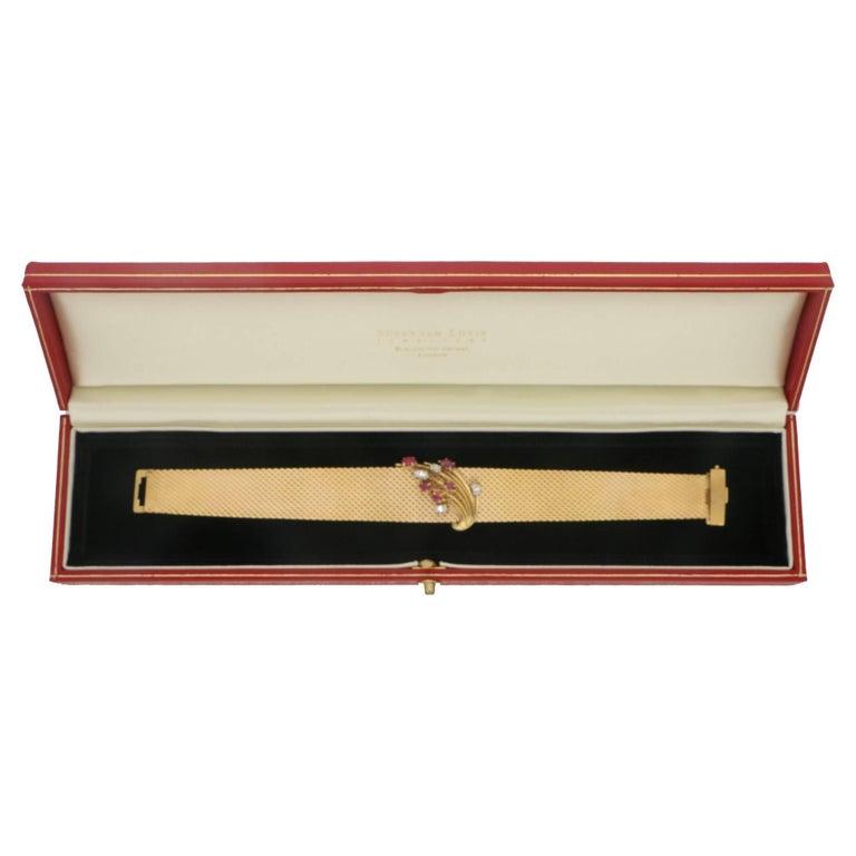 Women's or Men's 1960s Gold Ruby Diamond Bracelet For Sale