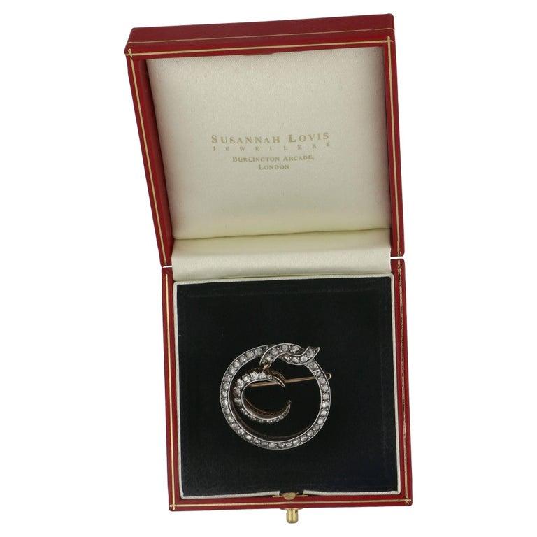 High Victorian Victorian Diamond Set Crescent Moon Brooch Circa 1870's  For Sale
