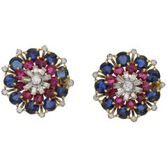 1960s Sapphire, Diamond and Ruby Floral Cluster Earrings