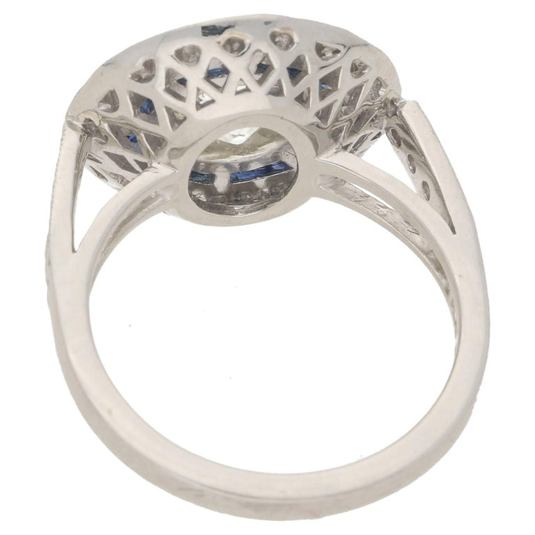 Old European Cut Art Deco Style Diamond Sapphire Target Engagement Ring For Sale