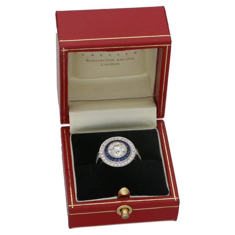 Art Deco Style Diamond Sapphire Target Engagement Ring In Excellent Condition For Sale In London, GB
