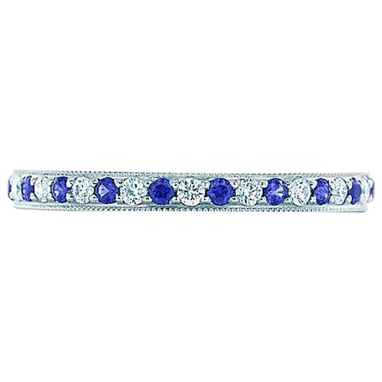 Tiffany & Co. Sapphire Diamond Platinum Eternity Ring