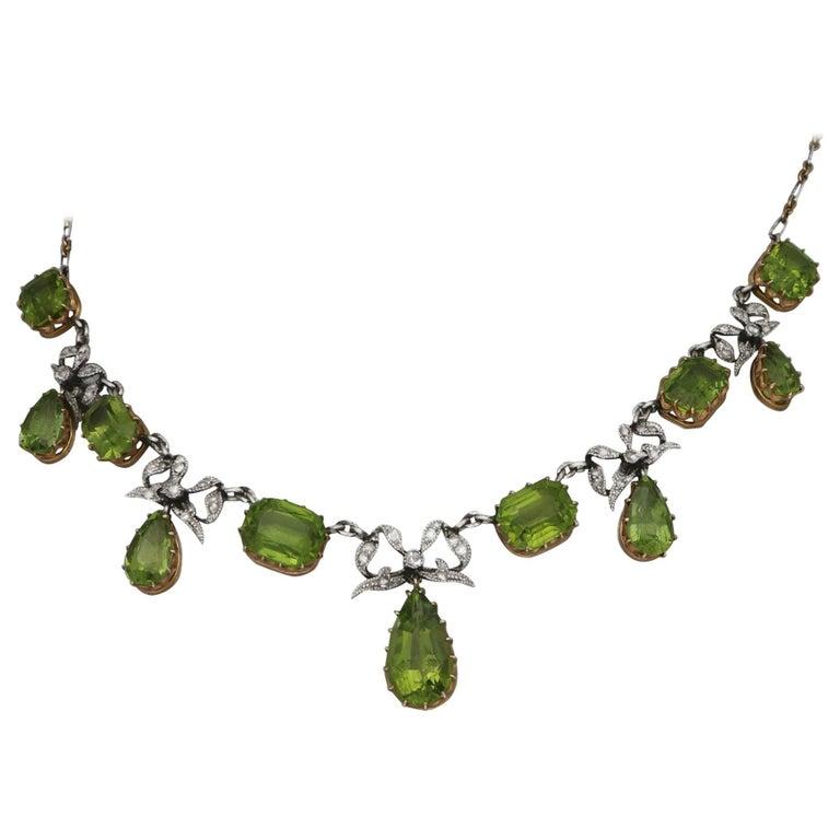 Edwardian Peridot Diamond Platinum Gold Necklace