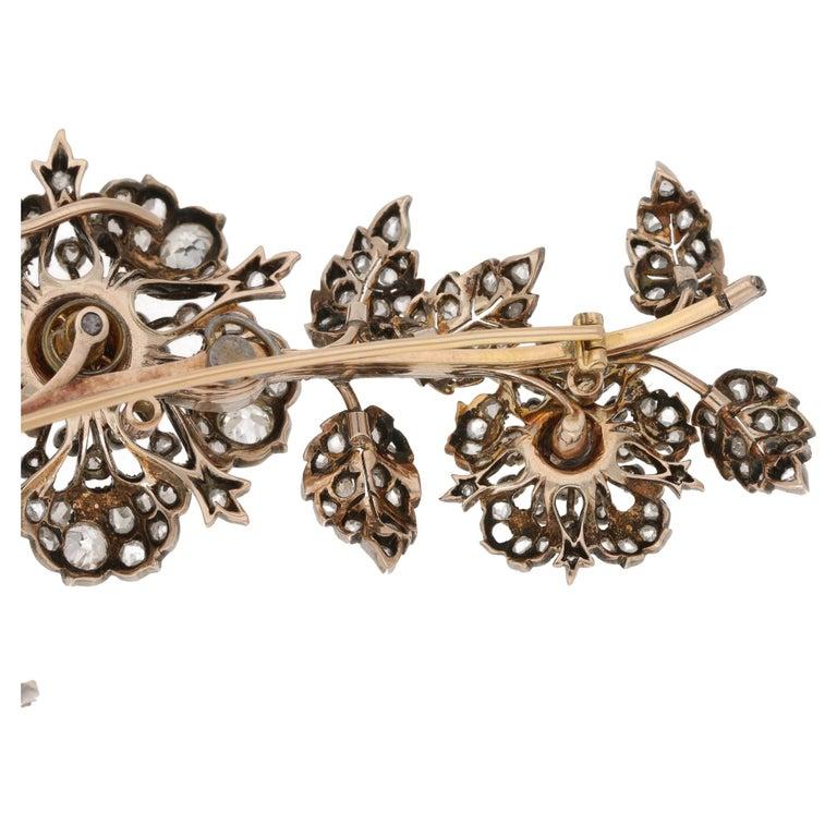 High Victorian Victorian Diamond Floral Spray Brooch For Sale