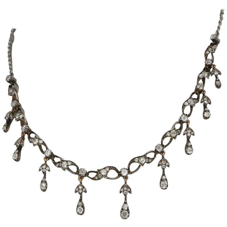 Victorian Diamond Silver Gold Fringe Necklace