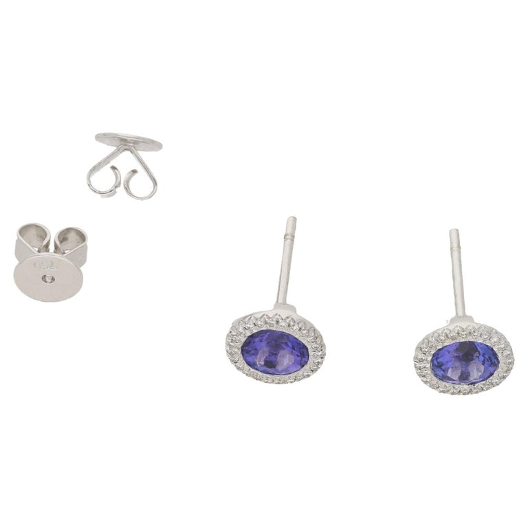 A Pair Of Round Tanzanite Ear Studs The Tanzanites Total 1 87ct S They Are